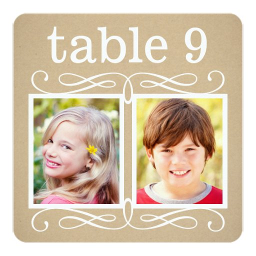"Wedding Table Number Cards Bride + Groom Photos 5.25"" Square Invitation Card"