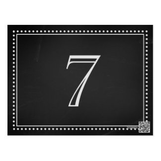 Wedding Table Number Cards Chalkboard Post Cards