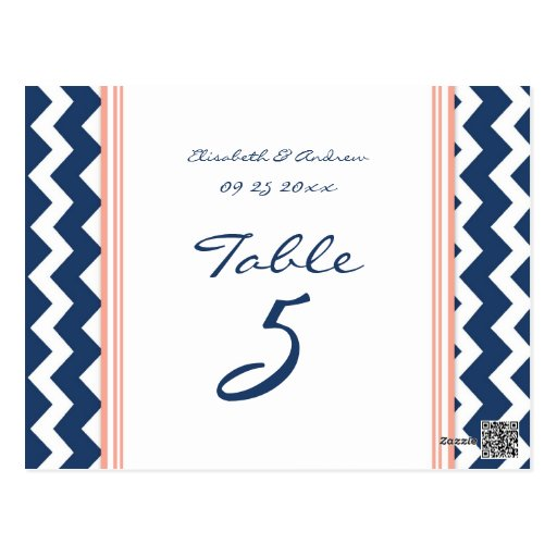 Wedding Table Number Cards Coral Blue Chevron Post Cards