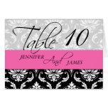 Wedding Table Number Cards Damask Hot Pink