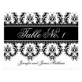 Wedding Table Number Cards Damask Names Black