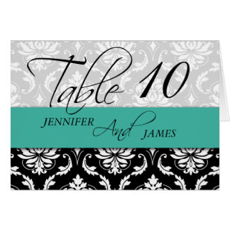 Wedding Table Number Cards Damask Turquoise