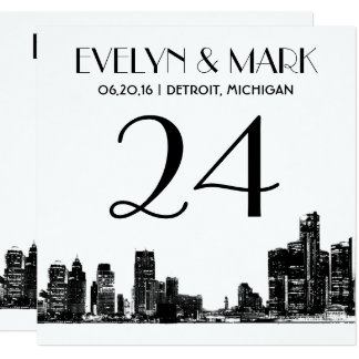 Wedding Table Number Cards | Detroit Skyline