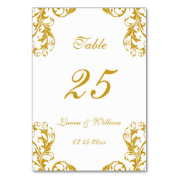 Wedding Table Number Cards | Gold Damask Design