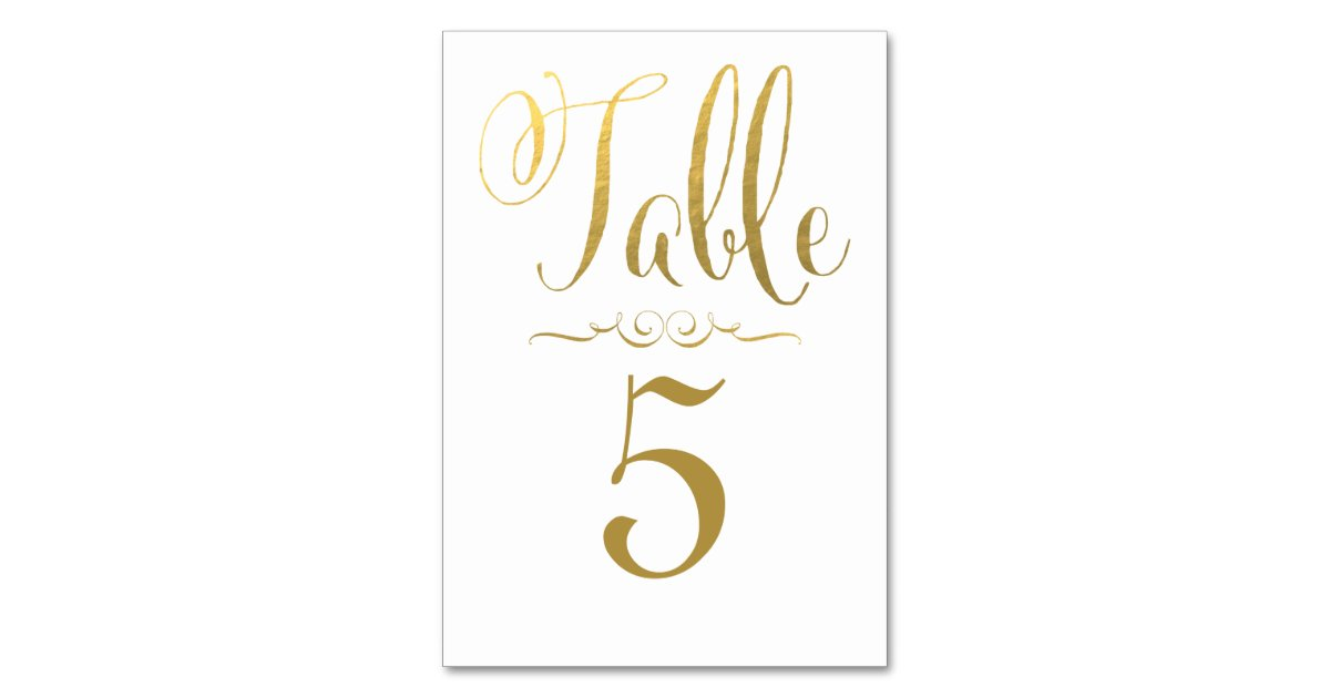 Wedding Table Number Cards Gold Foil Personalized Zazzle