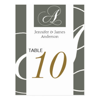 Wedding Table Number Cards Gold Silver Monogram Post Cards
