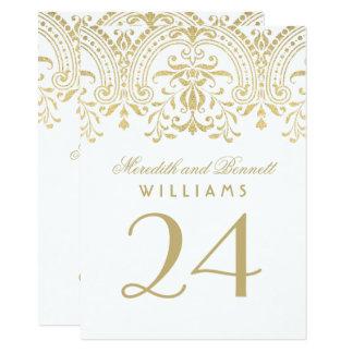 Wedding Table Number Cards | Gold Vintage Glamour