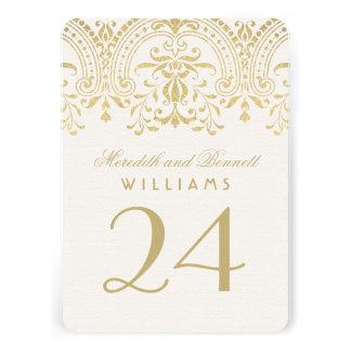 Wedding Table Number Cards Gold Vintage Glamour