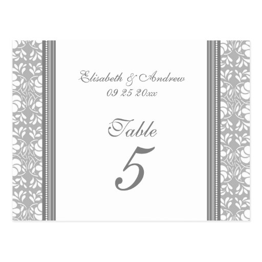 wedding table number cards gray damask