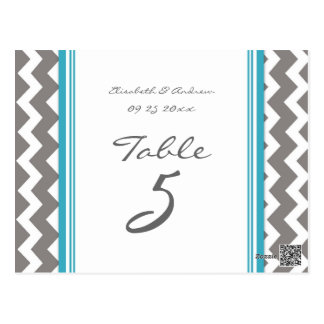 Wedding Table Number Cards Grey Blue Chevron