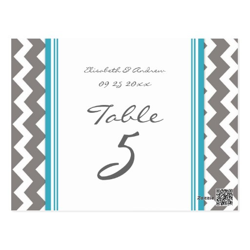 Wedding Table Number Cards Grey Blue Chevron Post Cards