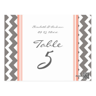 Wedding Table Number Cards Grey Coral Chevron Postcard