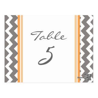 Wedding Table Number Cards Grey Orange Chevron Postcard