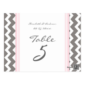 Wedding Table Number Cards Grey Pink Chevron