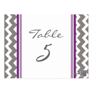 Wedding Table Number Cards Grey Purple Chevron