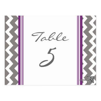 Wedding Table Number Cards Grey Purple Chevron Postcard