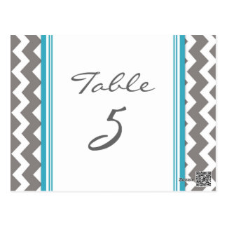 Wedding Table Number Cards Grey Teal Chevron