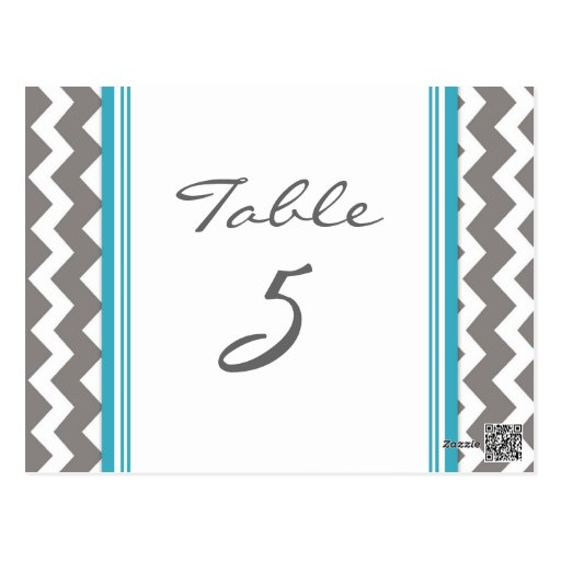 Wedding Table Number Cards Grey Teal Chevron Postcards