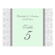 Wedding Table Number Cards Mint Gray Damask at Zazzle