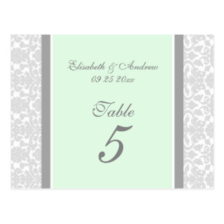 Wedding Table Number Cards Mint Gray Damask Postcard