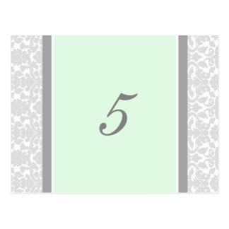 Wedding Table Number Cards Mint Gray Damask Post Card