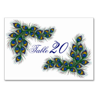 Wedding table number cards - peacock feathers table card