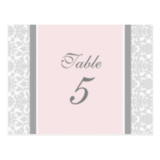 Wedding Table Number Cards Pink Gray Damask at Zazzle