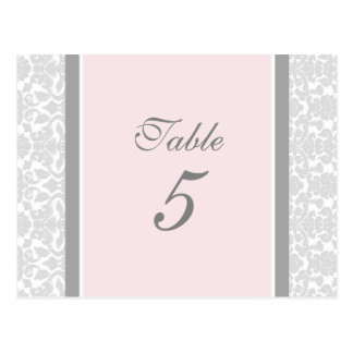 Wedding Table Number Cards Pink Gray Damask