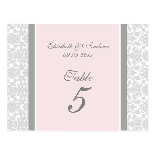 Wedding Table Number Cards Pink Gray Damask Postcards