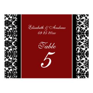 Wedding Table Number Cards Red Damask Postcard
