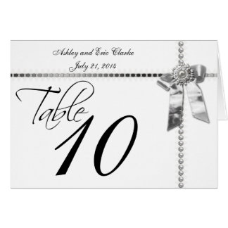 Wedding Table Number Cards Silver Bow Ribbon