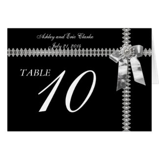 Wedding Table Number Cards Silver Ribbon