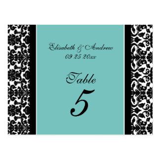 Wedding Table Number Cards Teal Damask Post Cards
