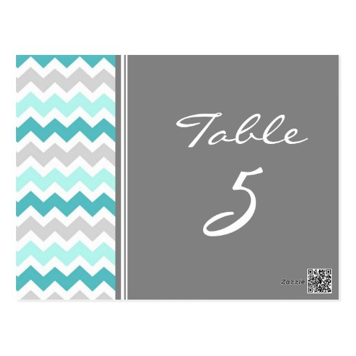 Wedding Table Number Cards Teal Gray Chevron Post Card