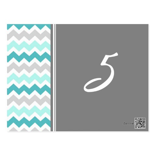 Wedding Table Number Cards Teal Gray Chevron Postcard