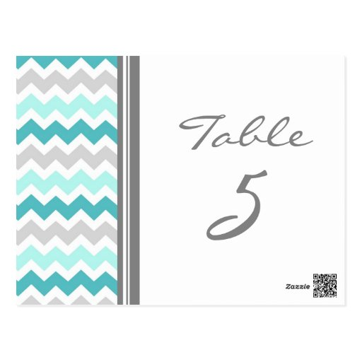Wedding Table Number Cards Teal Gray Chevron Post Cards