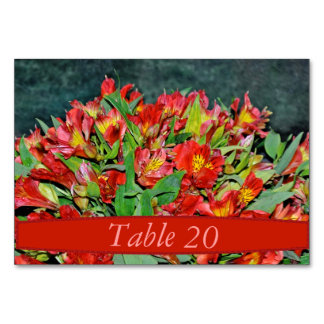 Wedding table number cards - wedding red flowers table card