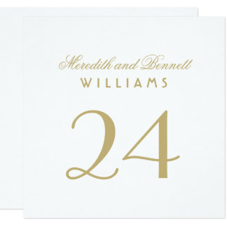 Wedding Table Number Cards | White and Gold