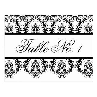 Wedding Table Number Cards White Black Damask