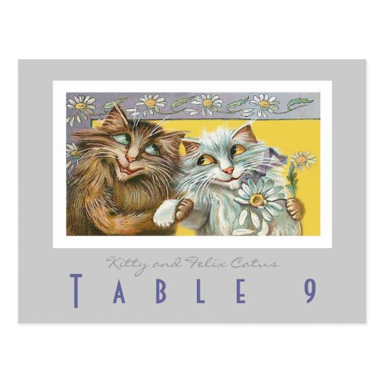 Wedding Table Number Cats in Love Postcard