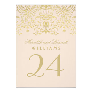 Wedding Table Number | Champagne Vintage Glamour 5x7 Paper Invitation Card