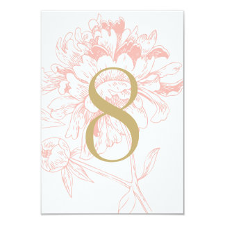 Wedding Table Number | Coral Floral Peony Design 3.5x5 Paper Invitation Card