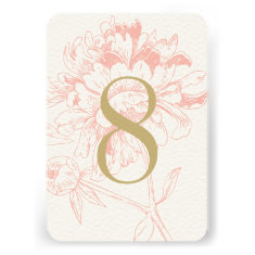 Wedding Table Number | Coral Floral Peony Design Invite