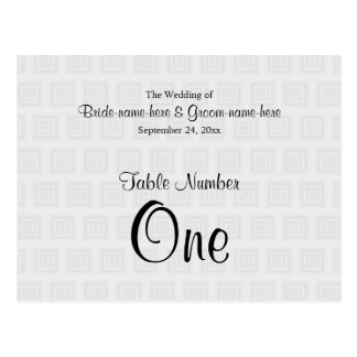Wedding Table Number Design Pale Gray Squares. Postcard