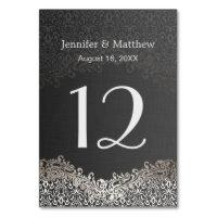Wedding Table Number - Elegant Dark Silver Damask