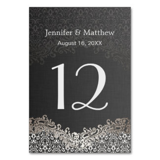 Wedding Table Number - Elegant Dark Silver Damask Card