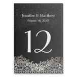 Wedding Table Number - Elegant Dark Silver Damask Table Card