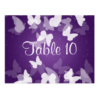 Wedding Table Number Elusive Butterflies Purple Post Cards
