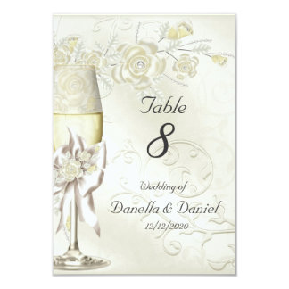 Wedding Table Number Gold Cream Pearl Floral Roses Card