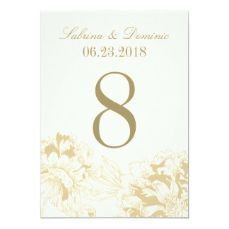 Wedding Table Number | Gold Floral Peony Design 5x7 Paper Invitation Card
